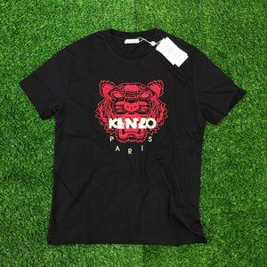 Kenzo Men Red Tiger Embroidery Black T-Shirt